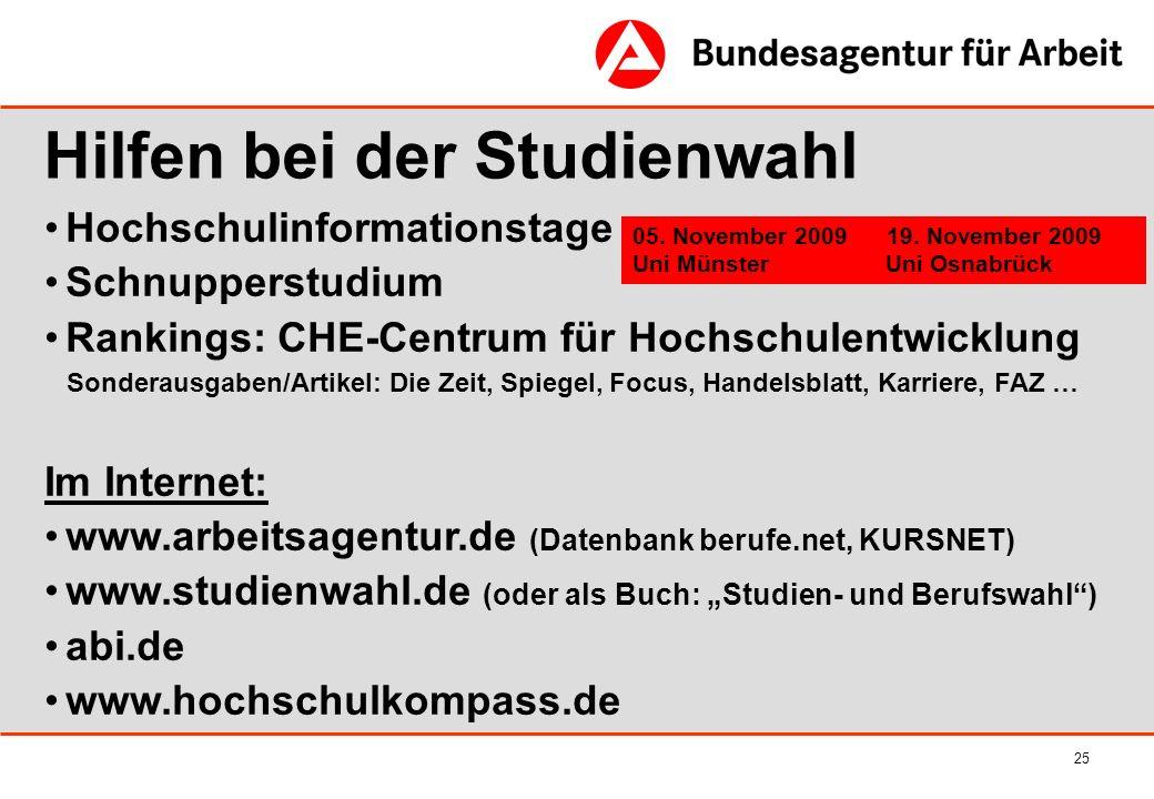 25 Hochschulinformationstage Schnupperstudium Rankings: CHE-Centrum für Hochschulentwicklung Sonderausgaben/Artikel: Die Zeit, Spiegel, Focus, Handels