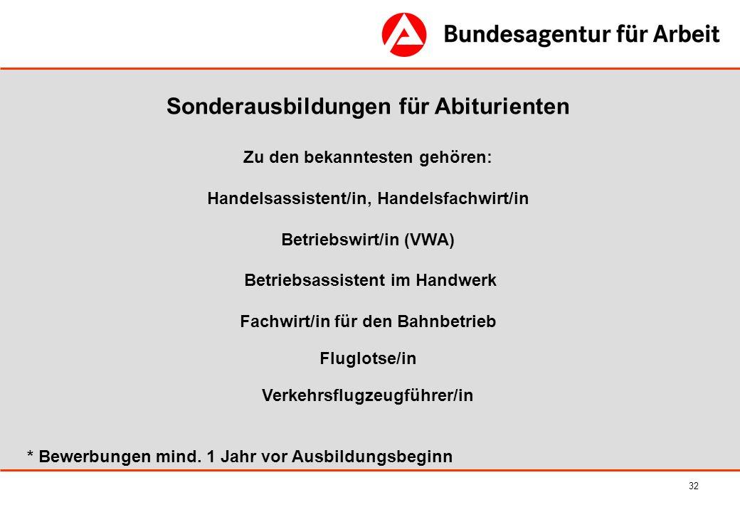 32 Sonderausbildungen für Abiturienten Zu den bekanntesten gehören: Handelsassistent/in, Handelsfachwirt/in Betriebswirt/in (VWA) Betriebsassistent im