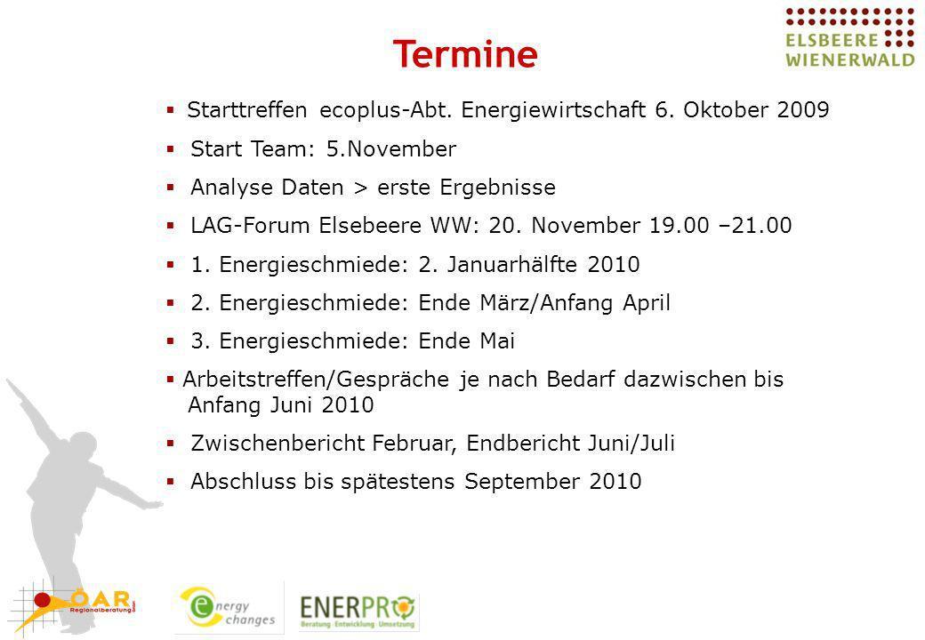 Termine Starttreffen ecoplus-Abt. Energiewirtschaft 6. Oktober 2009 Start Team: 5.November Analyse Daten > erste Ergebnisse LAG-Forum Elsebeere WW: 20
