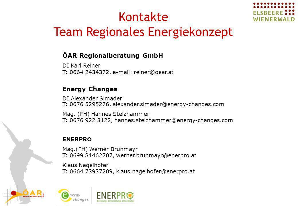 Kontakte Team Regionales Energiekonzept ÖAR Regionalberatung GmbH DI Karl Reiner T: 0664 2434372, e-mail: reiner@oear.at Energy Changes DI Alexander S