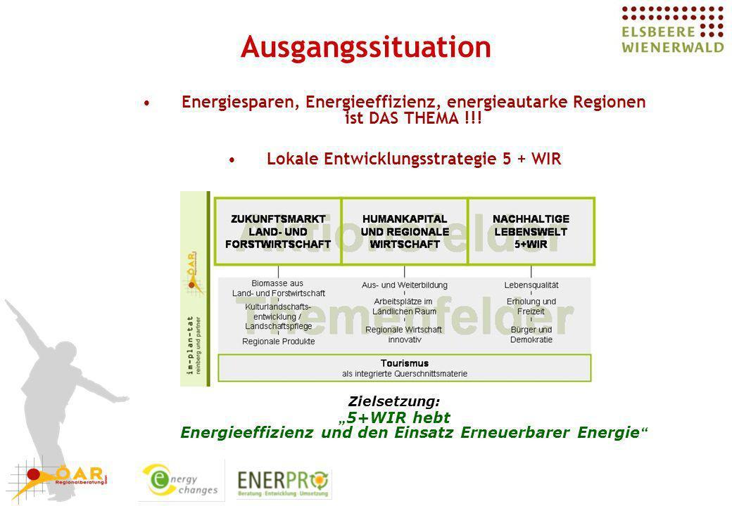 Ausgangssituation 1 Ausgangssituation und Zielsetzungen Energiesparen, Energieeffizienz, energieautarke Regionen ist DAS THEMA !!! Lokale Entwicklungs
