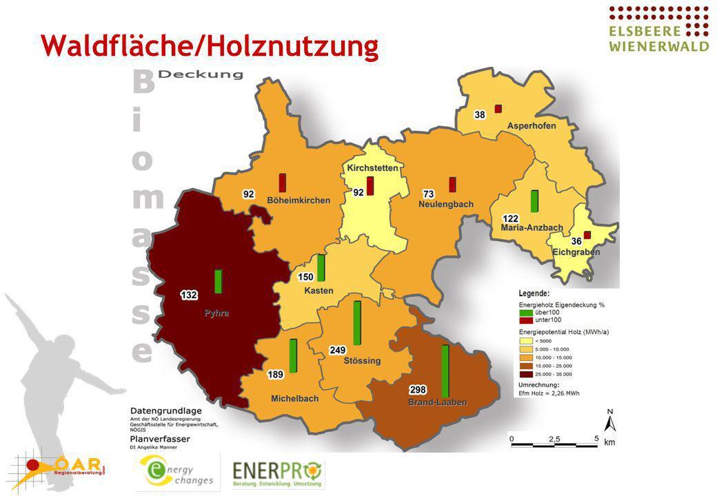 Wärmeressourcen (MWh/a) Region Elsbeere Wienerwald Wärmedämmung