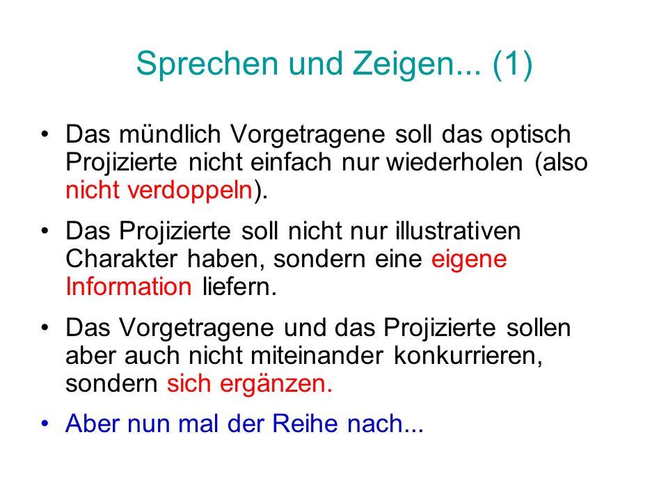Sprechen und Zeigen... (1) Das mündlich Vorgetragene soll das optisch Projizierte nicht einfach nur wiederholen (also nicht verdoppeln). Das Projizier