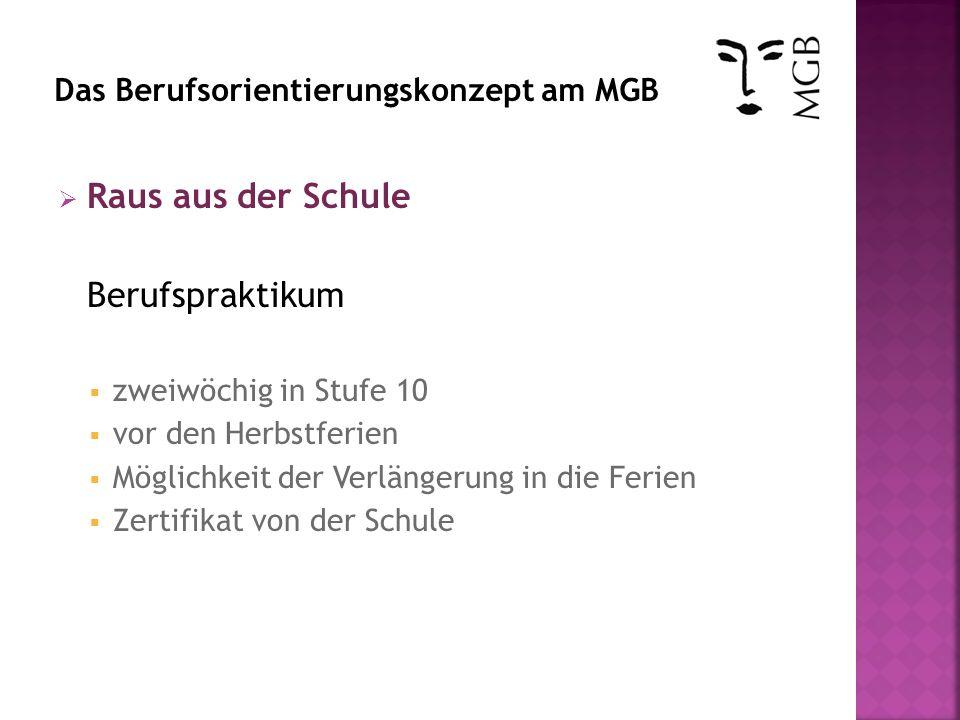 Berufspraktikum zweiwöchig in Stufe 10 vor den Herbstferien Möglichkeit der Verlängerung in die Ferien Zertifikat von der Schule