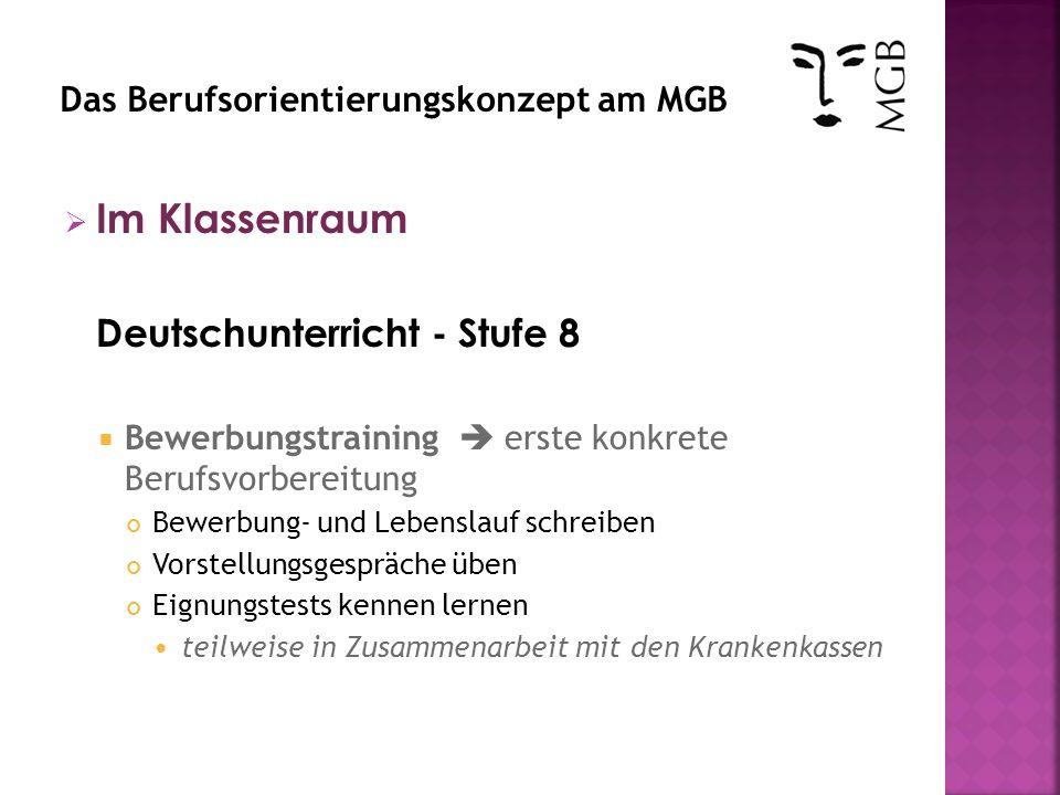 Im Klassenraum Deutschunterricht - Stufe 8 Bewerbungstraining erste konkrete Berufsvorbereitung Bewerbung- und Lebenslauf schreiben Vorstellungsgesprä