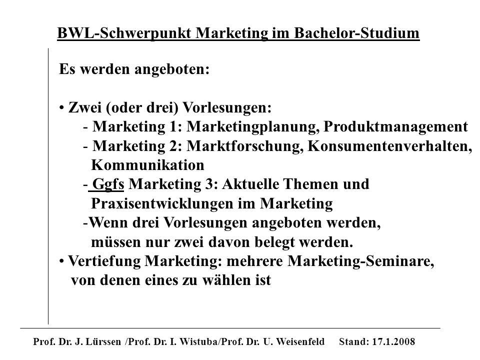 BWL-Schwerpunkt Marketing im Bachelor-Studium Prof. Dr. J. Lürssen /Prof. Dr. I. Wistuba/Prof. Dr. U. Weisenfeld Stand: 17.1.2008 Es werden angeboten: