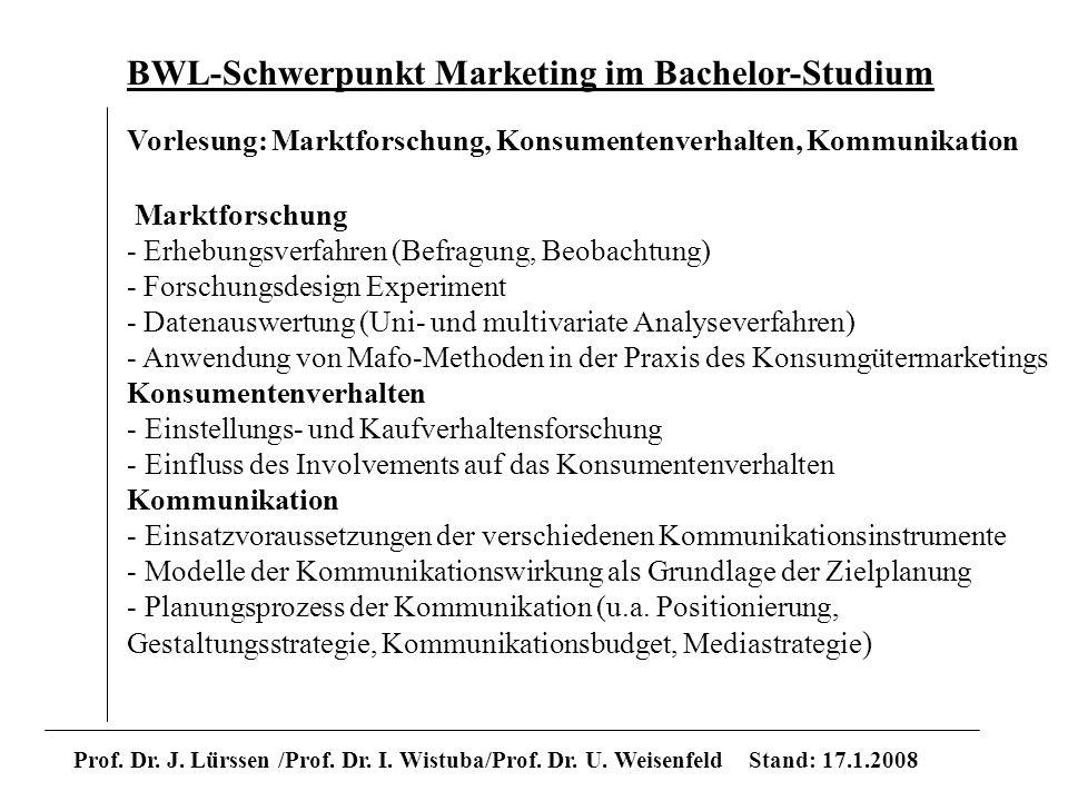 BWL-Schwerpunkt Marketing im Bachelor-Studium Prof. Dr. J. Lürssen /Prof. Dr. I. Wistuba/Prof. Dr. U. Weisenfeld Stand: 17.1.2008 Vorlesung: Marktfors