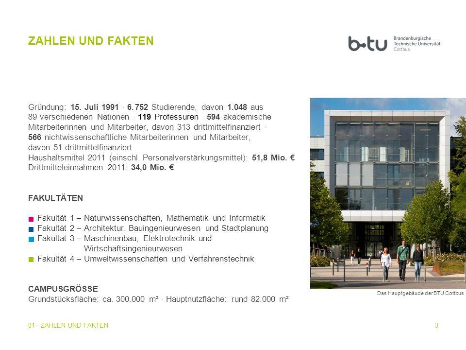 14 Die wissenschaftliche Forschung an der BTU ist strategisch auf fünf Schwerpunkte ausgerichtet: Umwelt, Energie, Material, Bauen sowie Informations- und Kommunikationstechnologie.