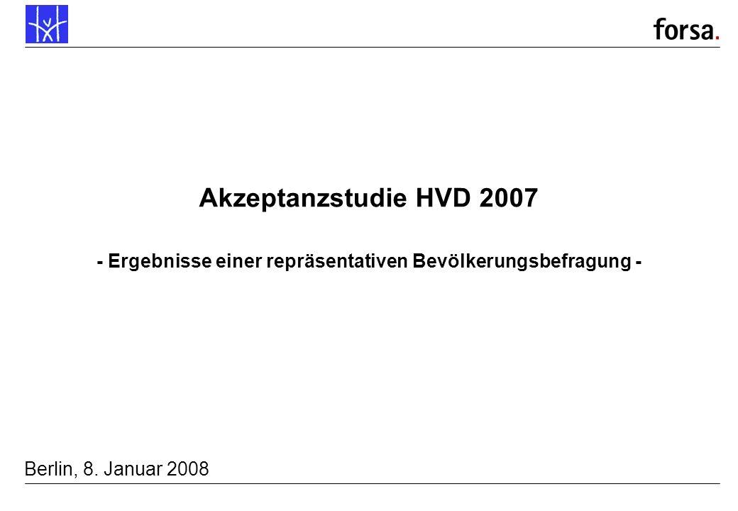 forsa. P7788/19470.1 01/08 Mü/Ty Akzeptanzstudie HVD 2007 - Ergebnisse einer repräsentativen Bevölkerungsbefragung - Berlin, 8. Januar 2008