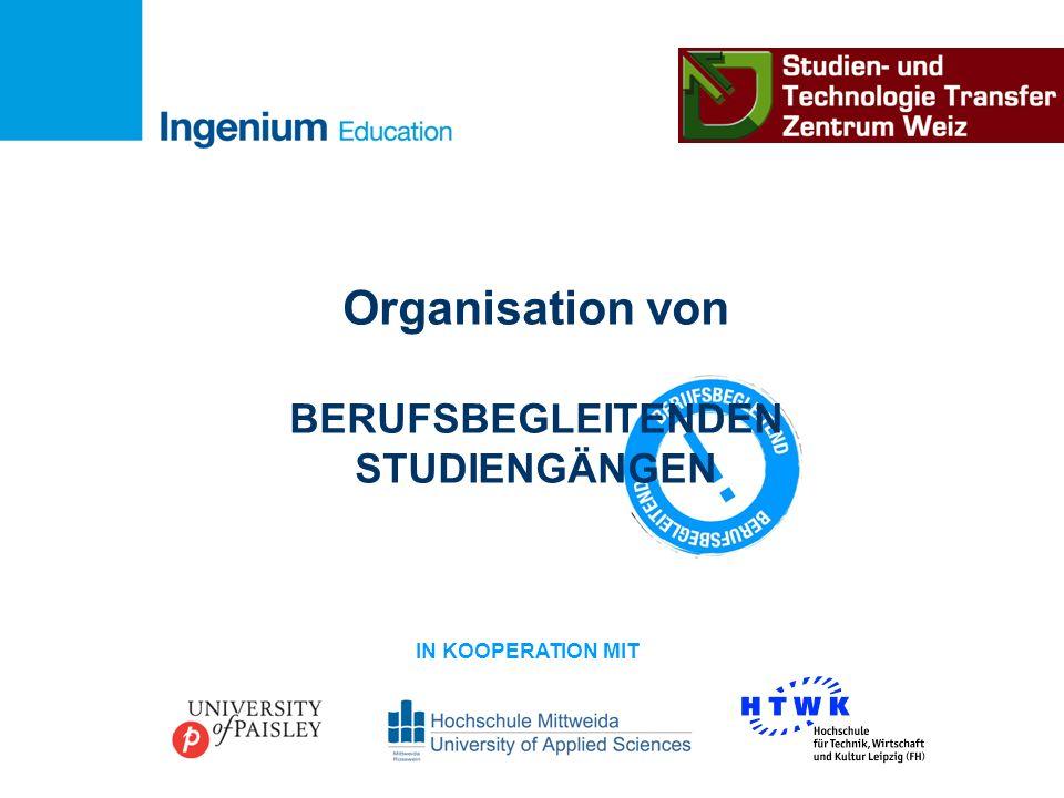 Organisation von BERUFSBEGLEITENDEN STUDIENGÄNGEN IN KOOPERATION MIT