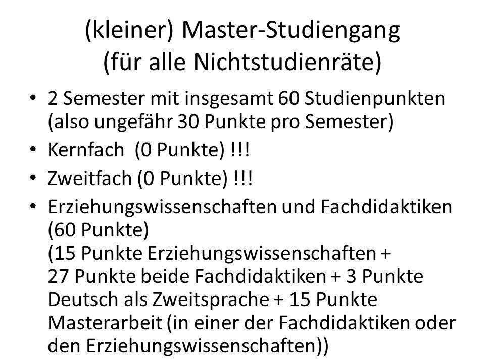 (kleiner) Master-Studiengang (für alle Nichtstudienräte) 2 Semester mit insgesamt 60 Studienpunkten (also ungefähr 30 Punkte pro Semester) Kernfach (0
