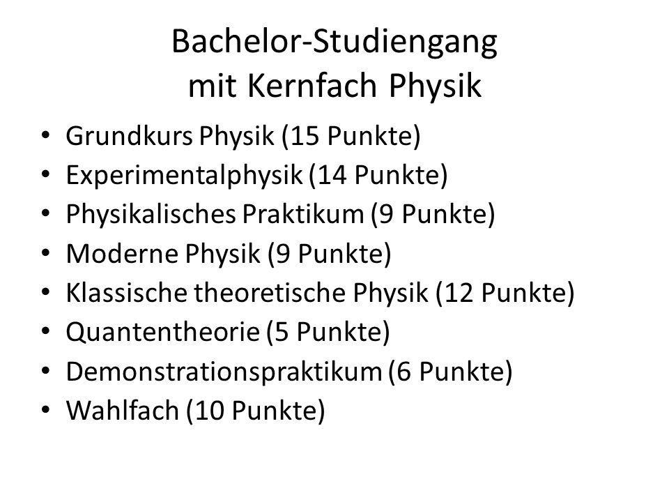 Bachelor-Studiengang mit Kernfach Physik Grundkurs Physik (15 Punkte) Experimentalphysik (14 Punkte) Physikalisches Praktikum (9 Punkte) Moderne Physi