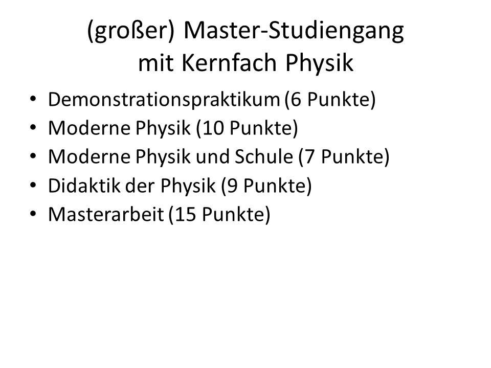 (großer) Master-Studiengang mit Kernfach Physik Demonstrationspraktikum (6 Punkte) Moderne Physik (10 Punkte) Moderne Physik und Schule (7 Punkte) Did