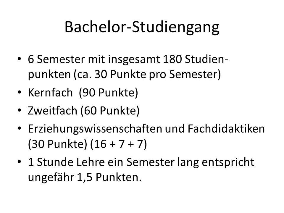Bachelor-Studiengang 6 Semester mit insgesamt 180 Studien- punkten (ca. 30 Punkte pro Semester) Kernfach (90 Punkte) Zweitfach (60 Punkte) Erziehungsw