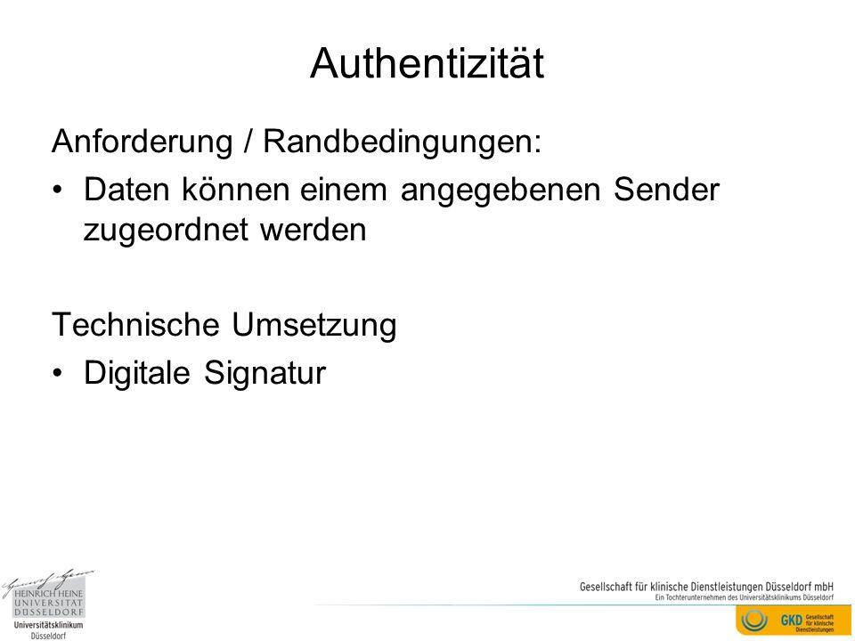 Authentizität Anforderung / Randbedingungen: Daten können einem angegebenen Sender zugeordnet werden Technische Umsetzung Digitale Signatur
