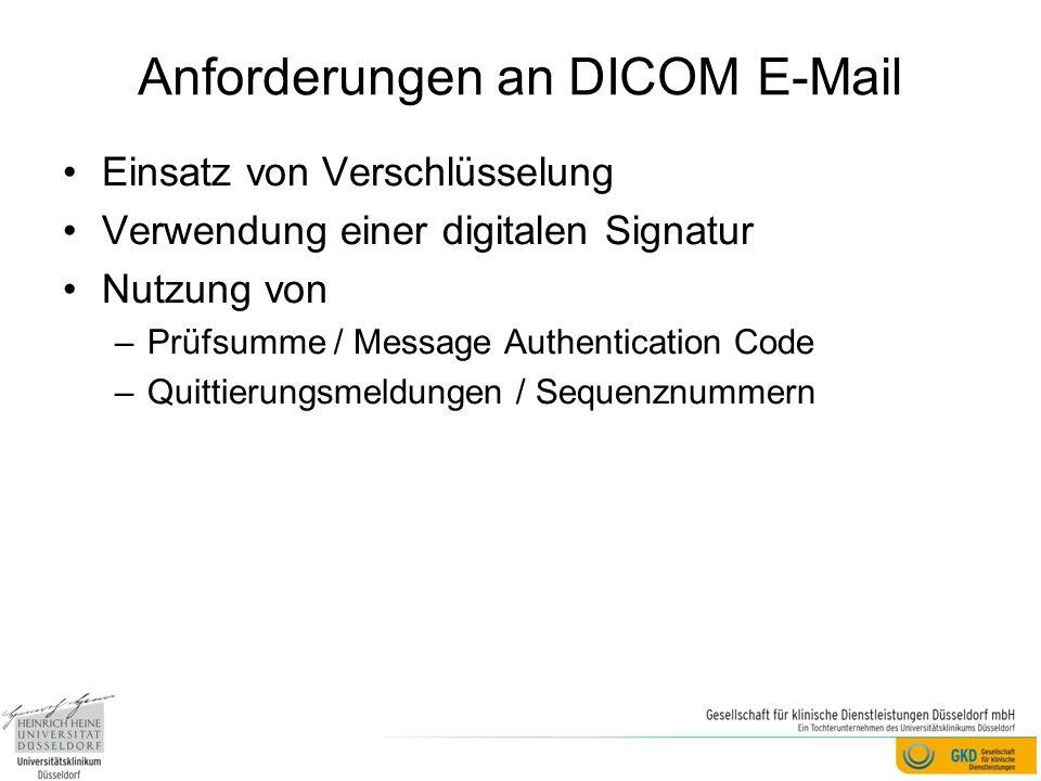 Anforderungen an DICOM E-Mail Einsatz von Verschlüsselung Verwendung einer digitalen Signatur Nutzung von –Prüfsumme / Message Authentication Code –Quittierungsmeldungen / Sequenznummern
