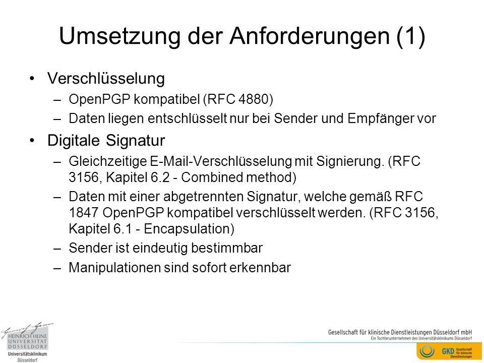 Umsetzung der Anforderungen (1) Verschlüsselung –OpenPGP kompatibel (RFC 4880) –Daten liegen entschlüsselt nur bei Sender und Empfänger vor Digitale Signatur –Gleichzeitige E-Mail-Verschlüsselung mit Signierung.
