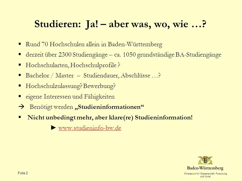 Ministerium für Wissenschaft, Forschung und Kunst Folie 2 Studieren: Ja! – aber was, wo, wie …? Rund 70 Hochschulen allein in Baden-Württemberg derzei