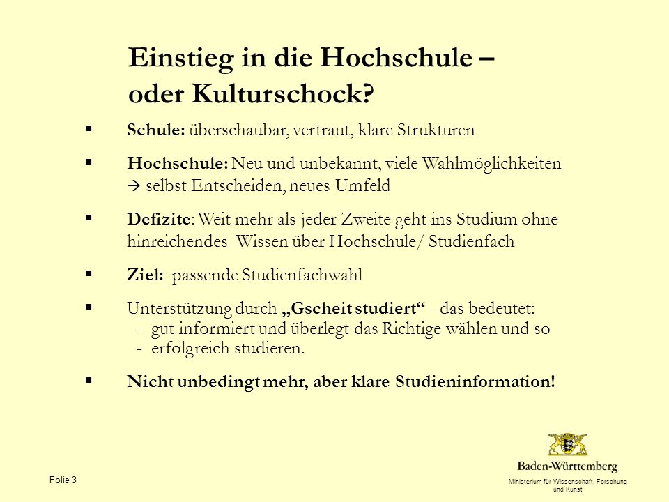 Ministerium für Wissenschaft, Forschung und Kunst Folie 3 Einstieg in die Hochschule – oder Kulturschock.