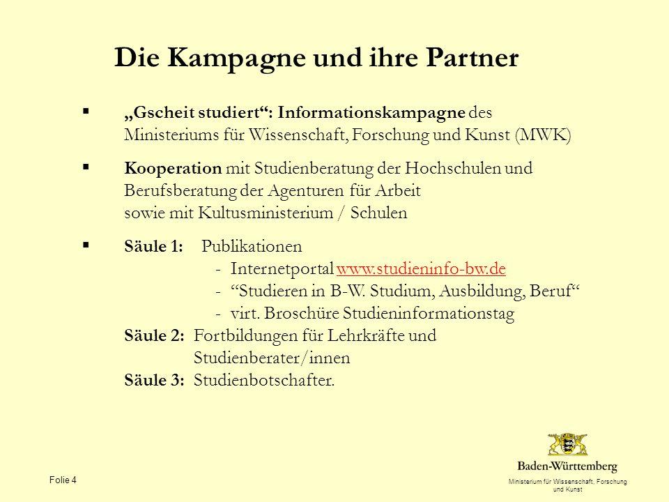 Ministerium für Wissenschaft, Forschung und Kunst Folie 4 Die Kampagne und ihre Partner Gscheit studiert: Informationskampagne des Ministeriums für Wi