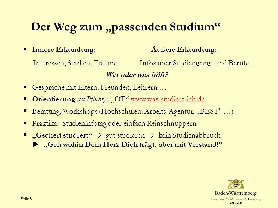 Ministerium für Wissenschaft, Forschung und Kunst Folie 8 Der Weg zum passenden Studium Innere Erkundung: Äußere Erkundung: Interessen, Stärken, Träum
