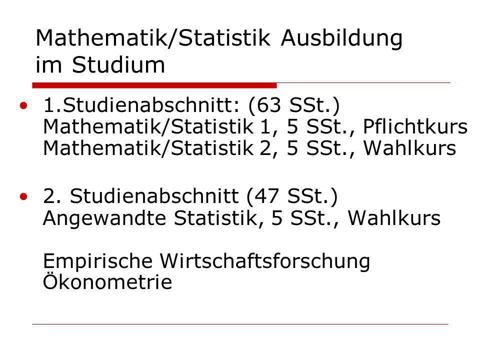 Mathematik/Statistik Ausbildung im Studium 1.Studienabschnitt: (63 SSt.) Mathematik/Statistik 1, 5 SSt., Pflichtkurs Mathematik/Statistik 2, 5 SSt., W