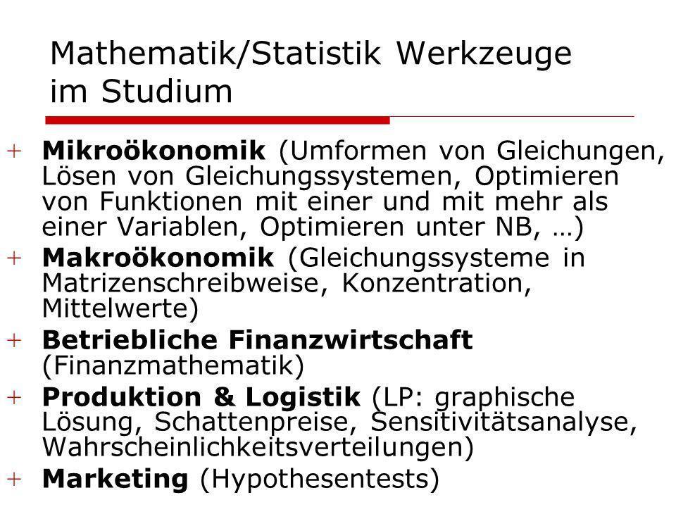 Mathematik/Statistik Werkzeuge im Studium +Mikroökonomik (Umformen von Gleichungen, Lösen von Gleichungssystemen, Optimieren von Funktionen mit einer