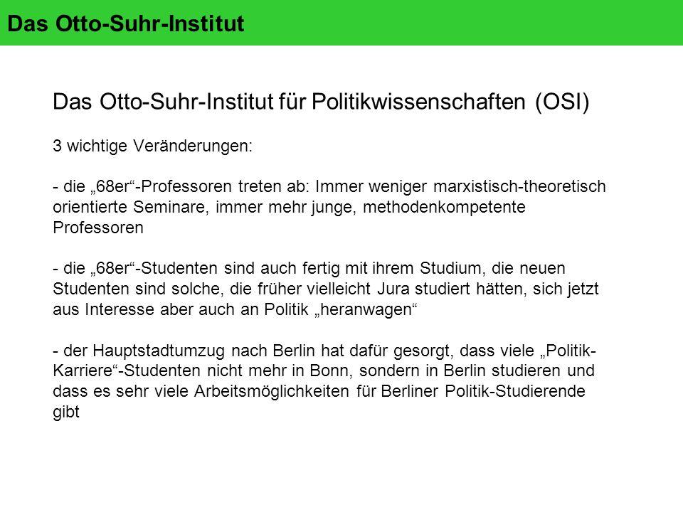 Das Otto-Suhr-Institut Das Otto-Suhr-Institut für Politikwissenschaften (OSI) 3 wichtige Veränderungen: - die 68er-Professoren treten ab: Immer weniger marxistisch-theoretisch orientierte Seminare, immer mehr junge, methodenkompetente Professoren - die 68er-Studenten sind auch fertig mit ihrem Studium, die neuen Studenten sind solche, die früher vielleicht Jura studiert hätten, sich jetzt aus Interesse aber auch an Politik heranwagen - der Hauptstadtumzug nach Berlin hat dafür gesorgt, dass viele Politik- Karriere-Studenten nicht mehr in Bonn, sondern in Berlin studieren und dass es sehr viele Arbeitsmöglichkeiten für Berliner Politik-Studierende gibt
