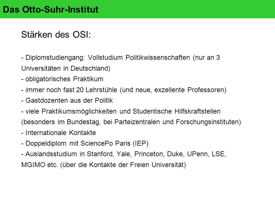 Das Otto-Suhr-Institut Stärken des OSI: - Diplomstudiengang: Vollstudium Politikwissenschaften (nur an 3 Universitäten in Deutschland) - obligatorisches Praktikum - immer noch fast 20 Lehrstühle (und neue, exzellente Professoren) - Gastdozenten aus der Politik - viele Praktikumsmöglichkeiten und Studentische Hilfskraftstellen (besonders im Bundestag, bei Parteizentralen und Forschungsinstituten) - Internationale Kontakte - Doppeldiplom mit SciencePo Paris (IEP) - Auslandsstudium in Stanford, Yale, Princeton, Duke, UPenn, LSE, MGIMO etc.