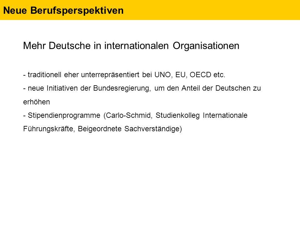 Neue Berufsperspektiven Mehr Deutsche in internationalen Organisationen - traditionell eher unterrepräsentiert bei UNO, EU, OECD etc.