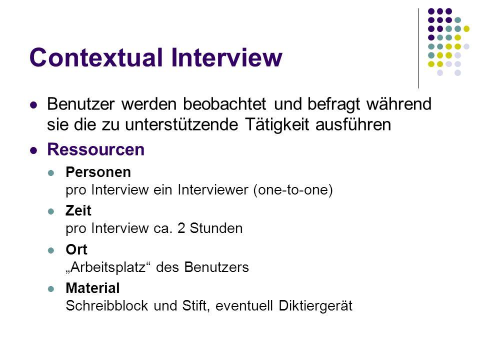 Contextual Interview Benutzer werden beobachtet und befragt während sie die zu unterstützende Tätigkeit ausführen Ressourcen Personen pro Interview ei