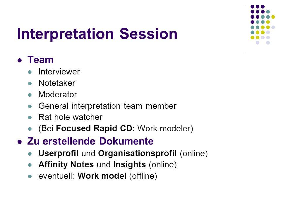 Interpretation Session Team Interviewer Notetaker Moderator General interpretation team member Rat hole watcher (Bei Focused Rapid CD: Work modeler) Z