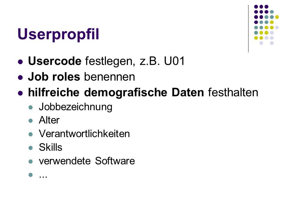 Userpropfil Usercode festlegen, z.B. U01 Job roles benennen hilfreiche demografische Daten festhalten Jobbezeichnung Alter Verantwortlichkeiten Skills