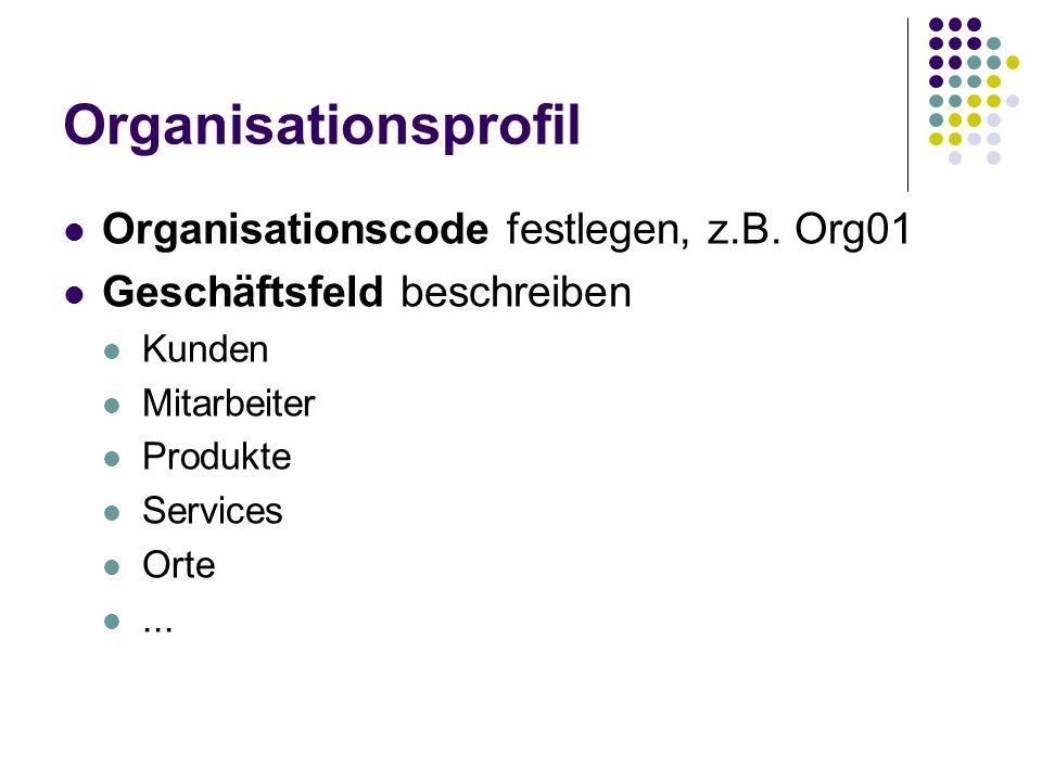 Organisationsprofil Organisationscode festlegen, z.B. Org01 Geschäftsfeld beschreiben Kunden Mitarbeiter Produkte Services Orte...