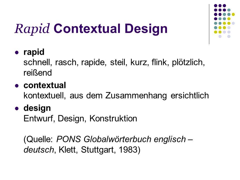 Rapid Contextual Design Rapid CD kann in jedem Projekt verwendet werden um Benutzerdaten einzuholen Beispiele Usability fixes Benutzercharakterisierung für neue Systemkonzepte Benutzerverhalten herausfinden Next generation system...