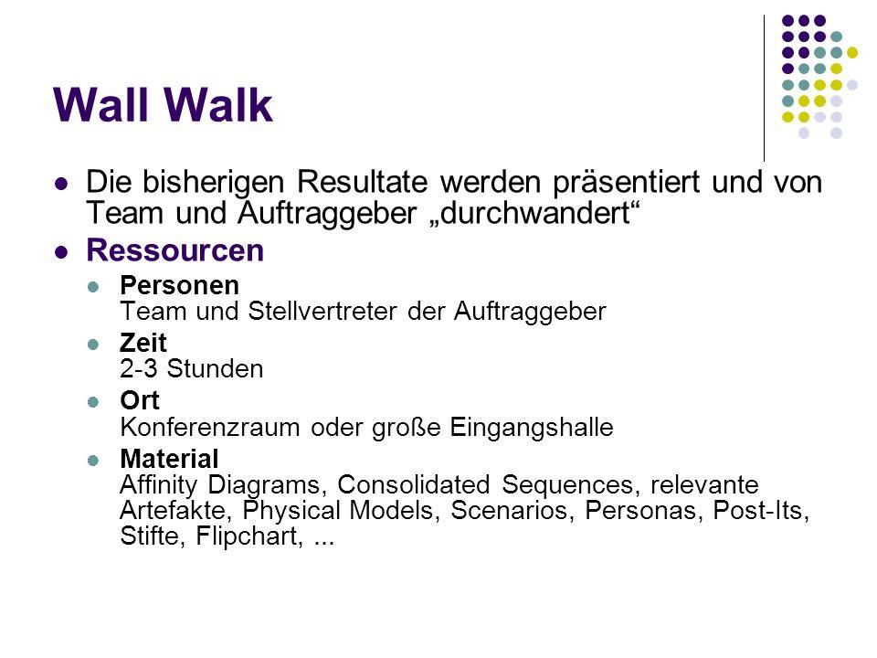 Wall Walk Die bisherigen Resultate werden präsentiert und von Team und Auftraggeber durchwandert Ressourcen Personen Team und Stellvertreter der Auftr
