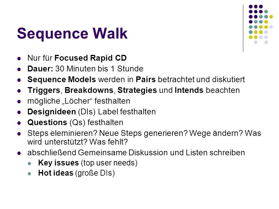 Sequence Walk Nur für Focused Rapid CD Dauer: 30 Minuten bis 1 Stunde Sequence Models werden in Pairs betrachtet und diskutiert Triggers, Breakdowns,