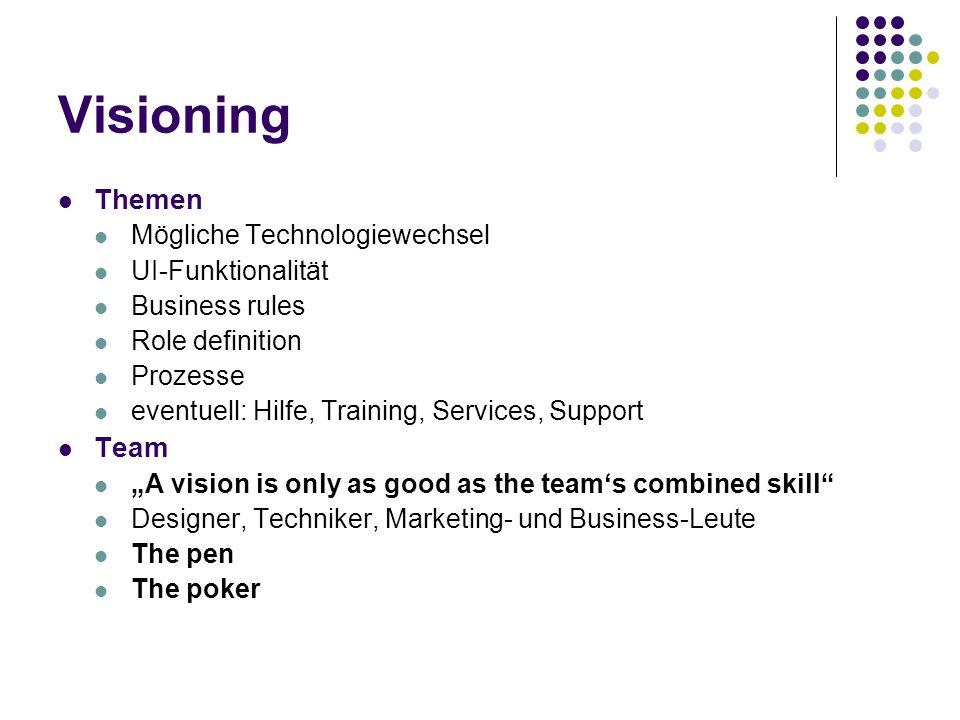 Visioning Themen Mögliche Technologiewechsel UI-Funktionalität Business rules Role definition Prozesse eventuell: Hilfe, Training, Services, Support T