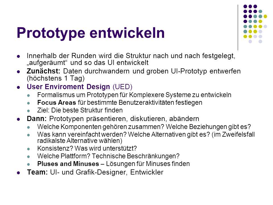 Prototype entwickeln Innerhalb der Runden wird die Struktur nach und nach festgelegt, aufgeräumt und so das UI entwickelt Zunächst: Daten durchwandern