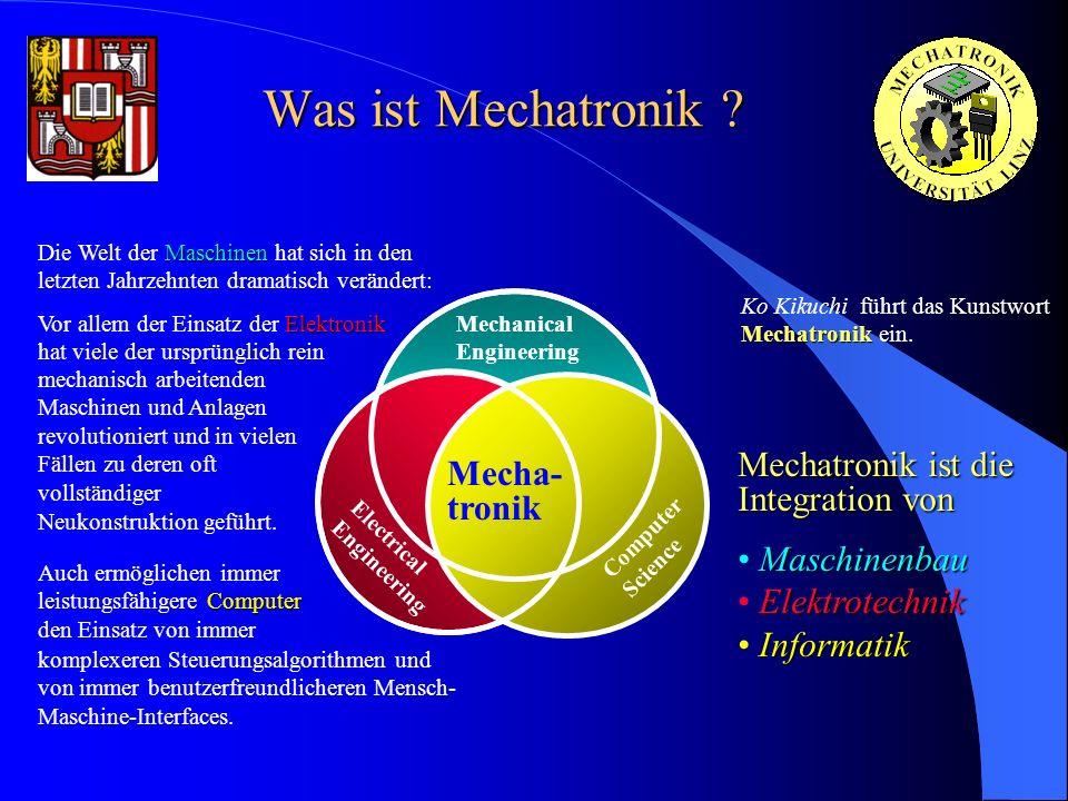 Was ist Mechatronik ? Mechanical Engineering Mecha- tronik Computer Science Electrical Engineering Mechatronik Ko Kikuchi führt das Kunstwort Mechatro