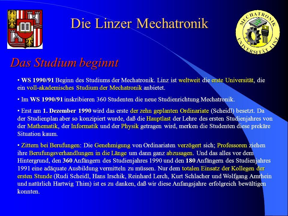 Die Linzer Mechatronik Das Studium beginnt WS 1990/91weltweiterste Universität voll-akademisches Studium der Mechatronik WS 1990/91 Beginn des Studium