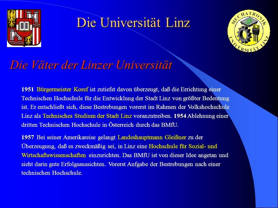 Die Universität Linz Die Väter der Linzer Universität 1951Bürgermeister Koref Technisches Studium der Stadt Linz1954 1951 Bürgermeister Koref ist zuti