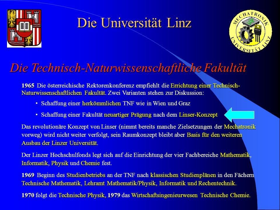 Die Universität Linz Die Technisch-Naturwissenschaftliche Fakultät 1965Errichtung einer Technisch- Naturwissenschaftlichen Fakultät 1965 Die österreic