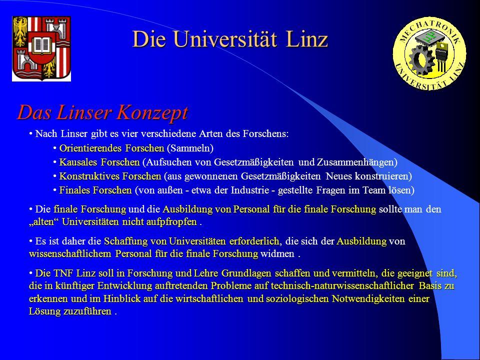 Die Universität Linz Das Linser Konzept Nach Linser gibt es vier verschiedene Arten des Forschens: Orientierendes Forschen Orientierendes Forschen (Sa
