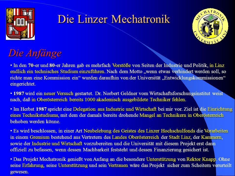 Die Linzer Mechatronik Die Anfänge 7080Vorstößein Linz endlich ein technisches Studium einzuführen In den 70-er und 80-er Jahren gab es mehrfach Vorst