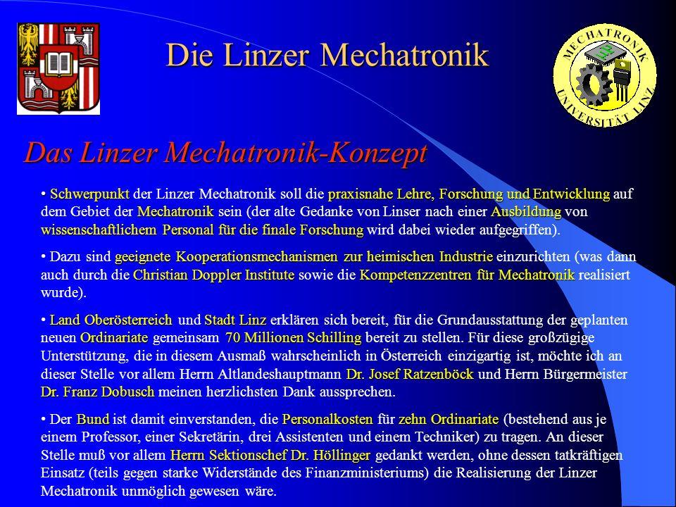 Die Linzer Mechatronik Das Linzer Mechatronik-Konzept Schwerpunkt praxisnahe Lehre, Forschung und Entwicklung Mechatronik Ausbildung wissenschaftliche