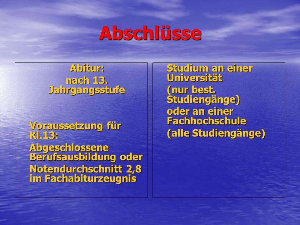 Abschlüsse Abitur: nach 13.