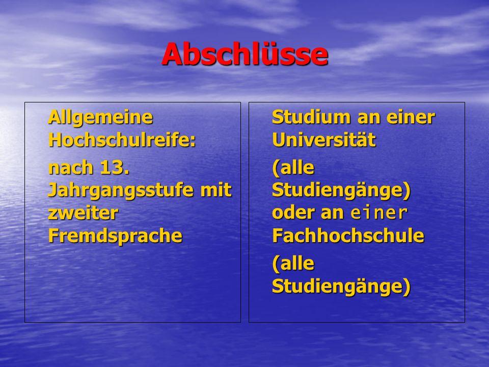 Abschlüsse Allgemeine Hochschulreife: nach 13.