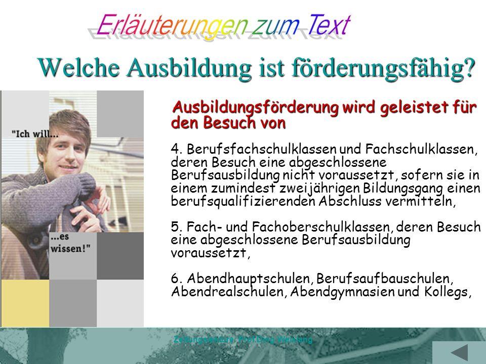 Zeitungslektüre Prof.Ding Weixiang TEIL Text--- Bafög und andere Alternativen Gesetzlich sind Eltern verpflichtet, ihren Kindern bis zur Vollendung des 27.