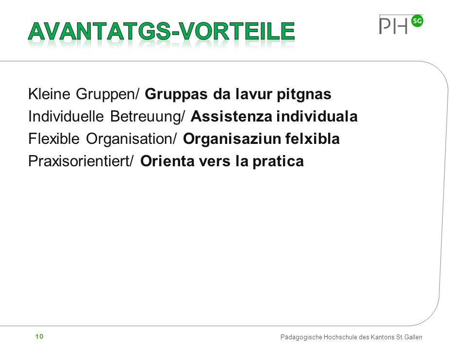 10 Pädagogische Hochschule des Kantons St.Gallen Kleine Gruppen/ Gruppas da lavur pitgnas Individuelle Betreuung/ Assistenza individuala Flexible Orga